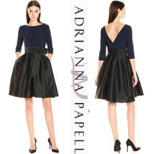 Adrianna Papell 3/4 sleeve bow tie dress